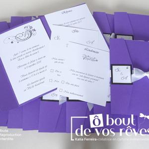 Faire-part pochette violet