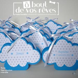 Boîte à dragées nuage bleu