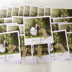 Remerciements mariage style polaroid