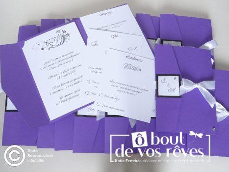 Faire part pochette violet
