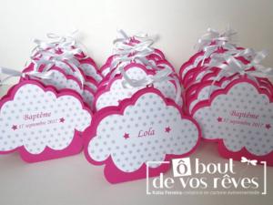 Boîte à dragées nuage rose