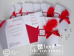 Faire part pochette cartons blancs plume rouge