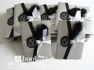 Faire part pochette noir et blanc plume