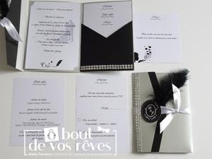 Faire part pochette noir et blanc plume intérieur