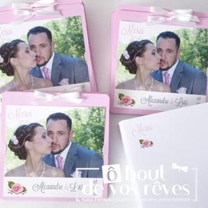 Carte remerciements mariage rose