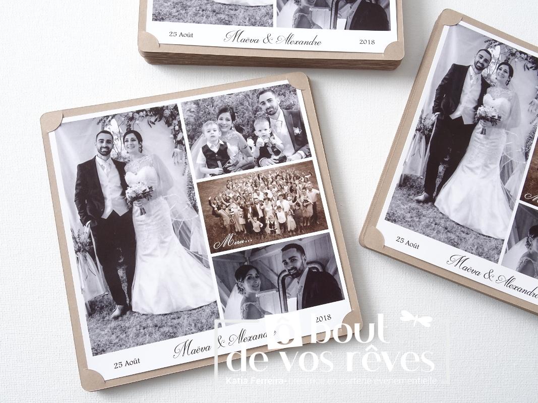 Remerciements mariage retro vintage