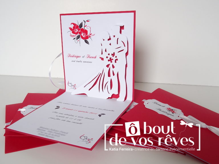 Faire-part mariage orchidée rouge
