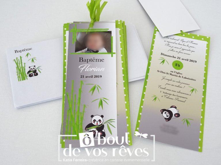 Faire-part baptême panda
